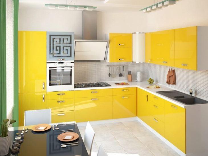 Кухня желтая с белым