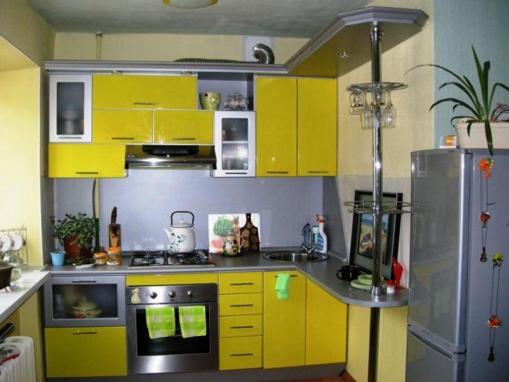 Желто серые кухни фото