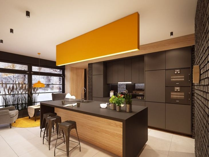 Кухня низ коричневый верх желтый