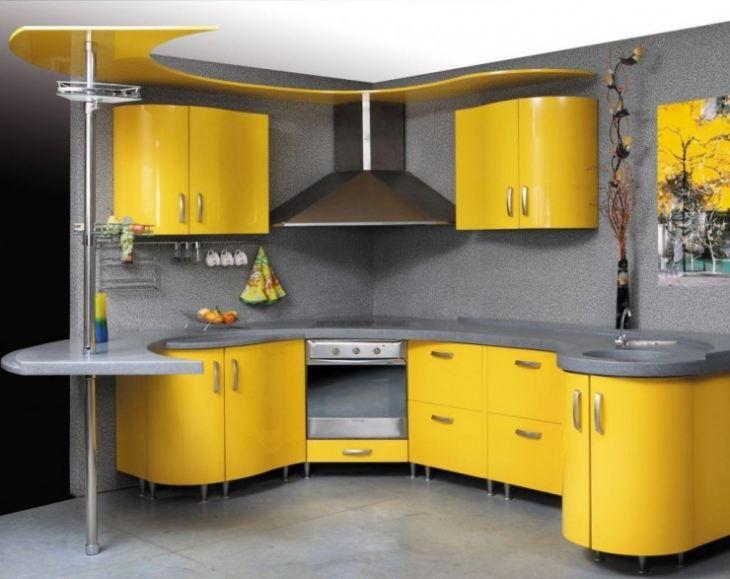 Желто серая кухня
