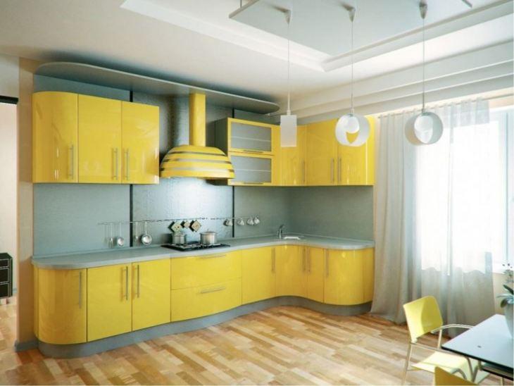 Желто белая кухня
