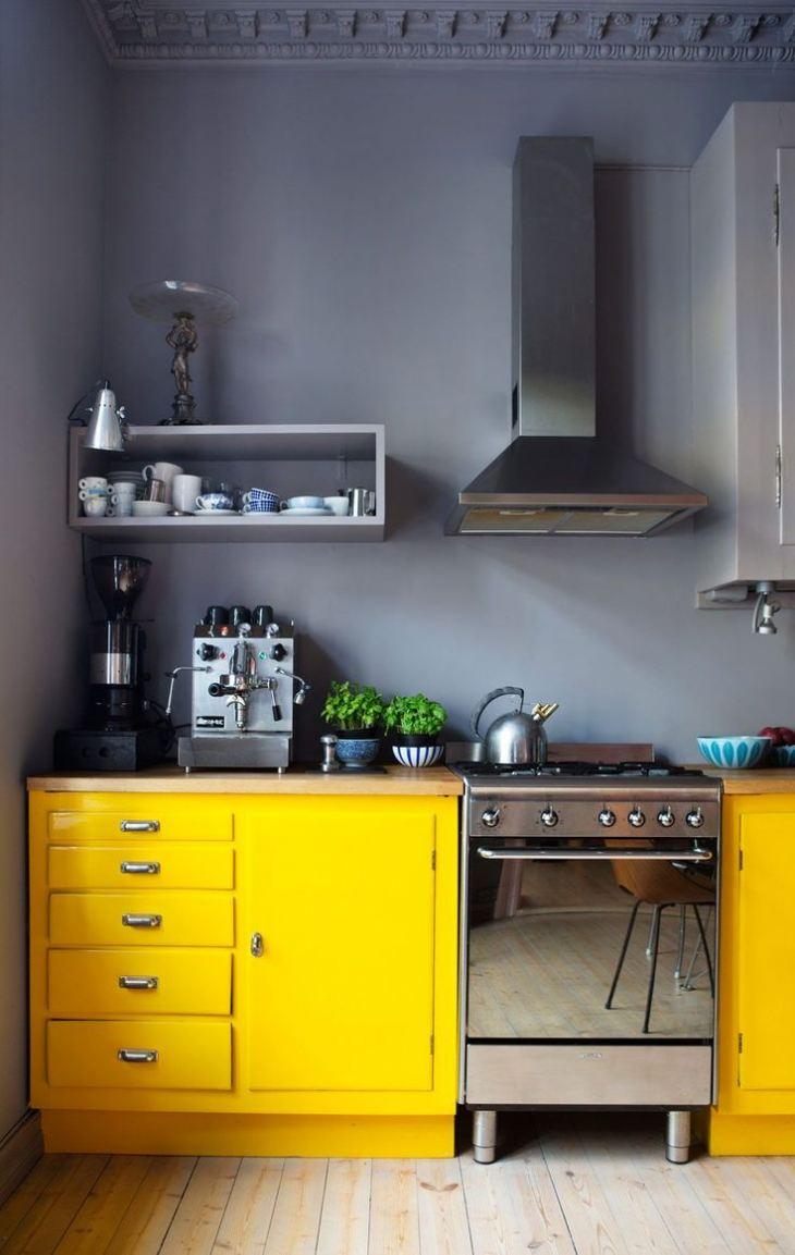 Кухня серо желтая