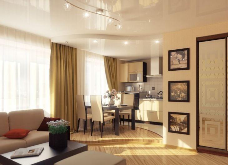 натяжной потолок на кухне дизайн фото
