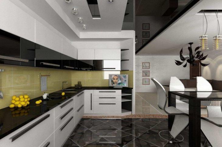натяжные потолки на кухню фото