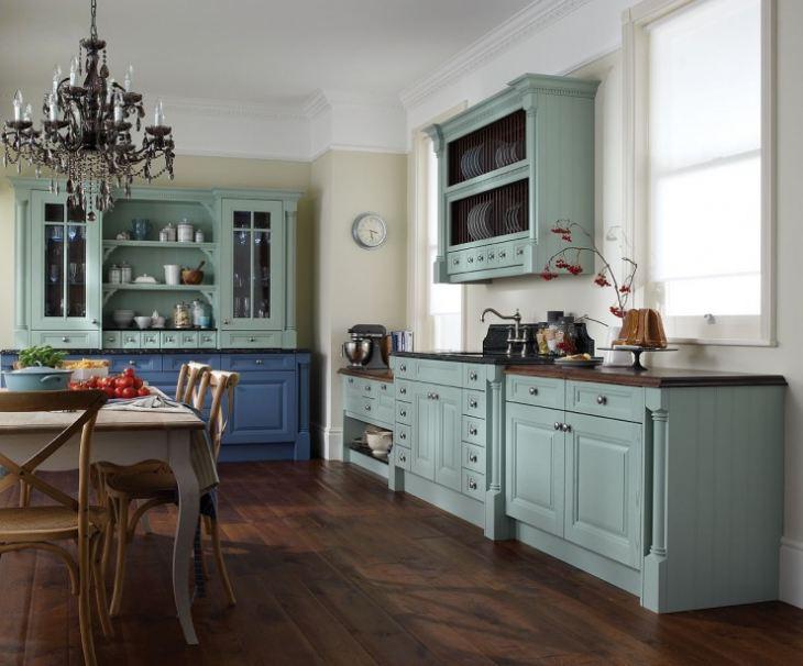 Сине зеленая кухня в интерьере