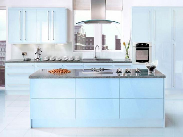 Кухня в сине серых тонах