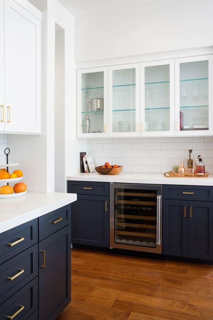 Кухня черная с синим