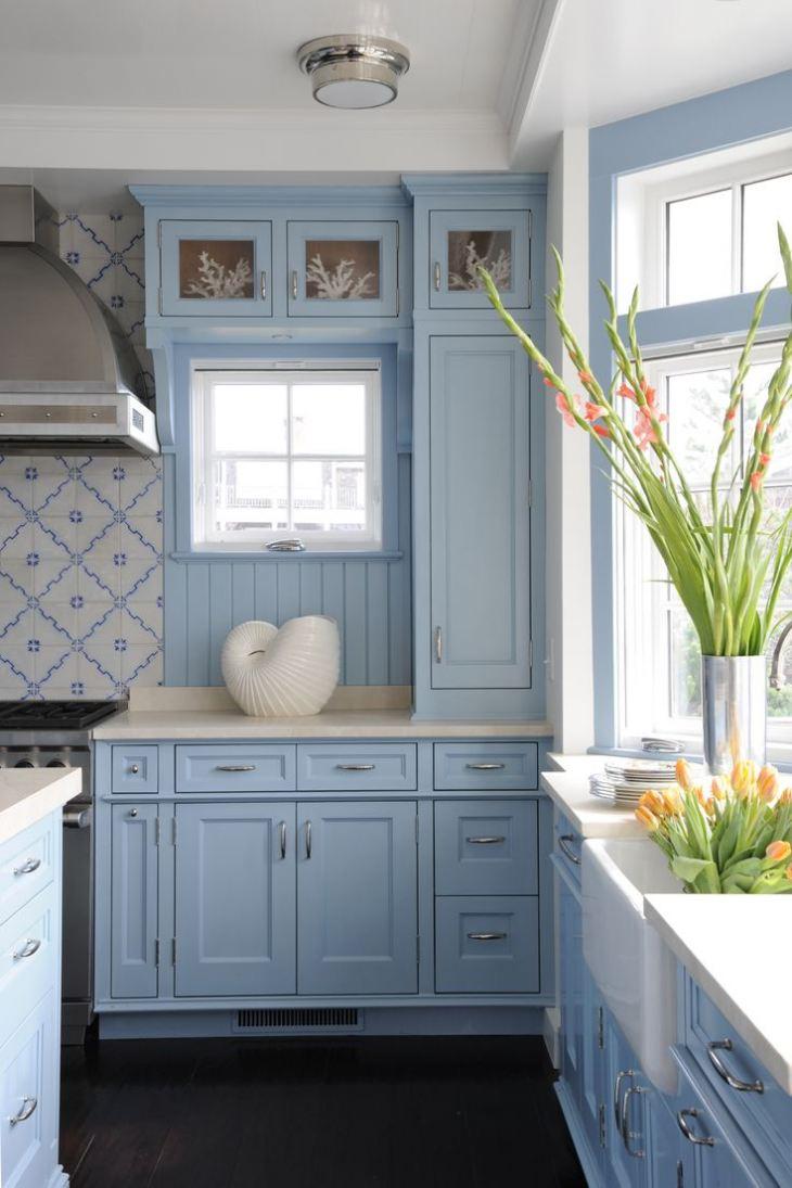 Серо синие кухни фото