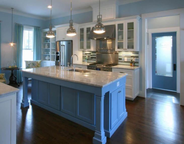 Бело синий кухонный гарнитур