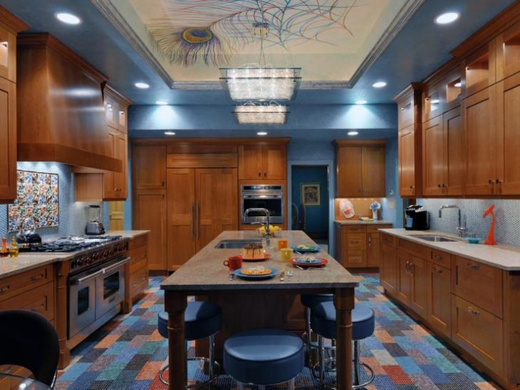 Сочетание синего в кухне