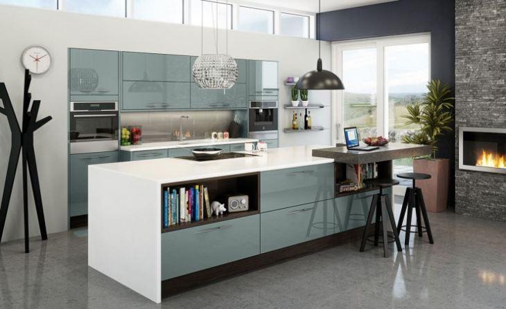 Сочетание синего в интерьере кухни