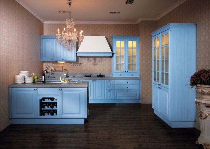 Синяя кухня сочетание цветов