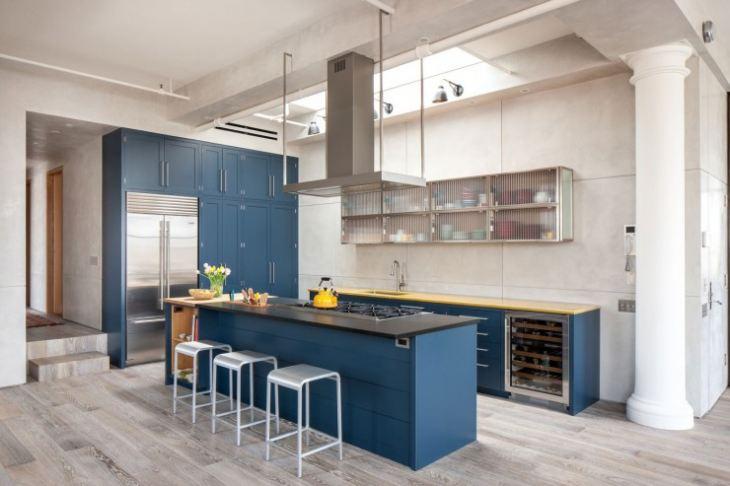 С чем сочетается синяя кухня