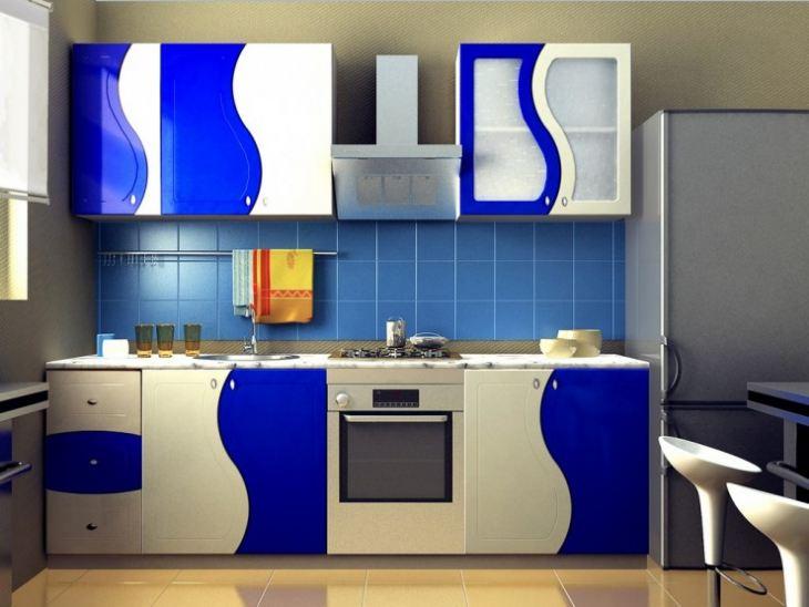 Кухня в бежево синих тонах