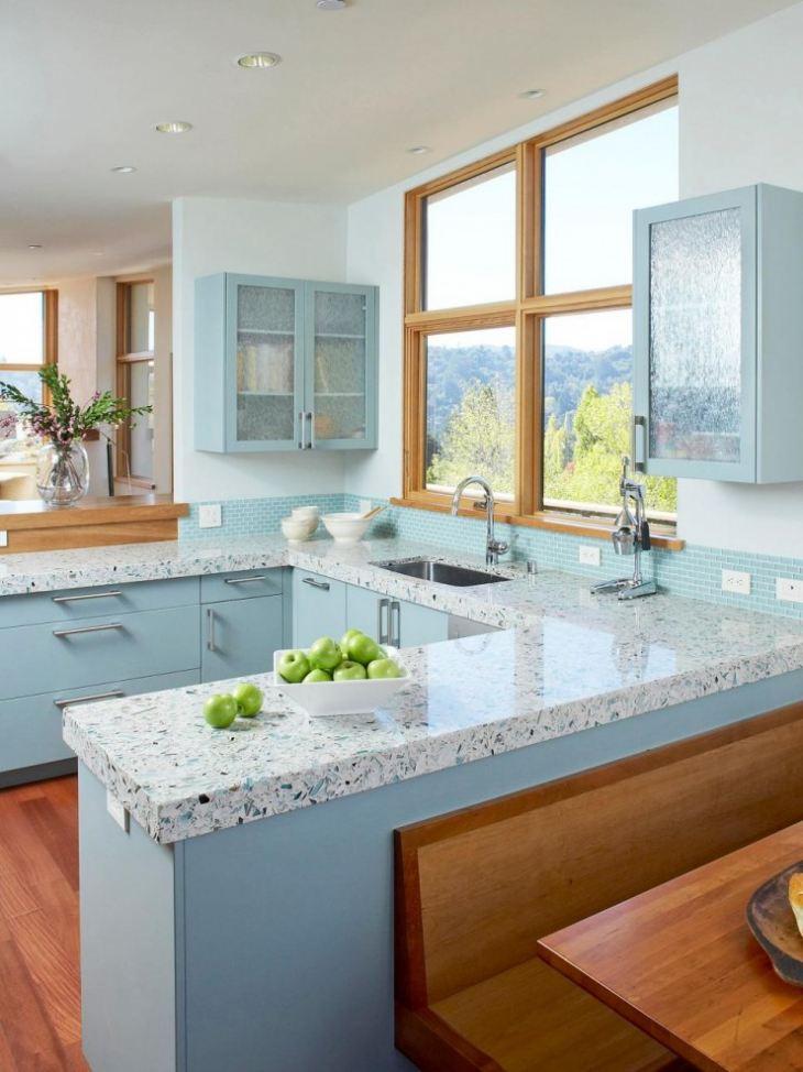 Кухня в серо синем цвете
