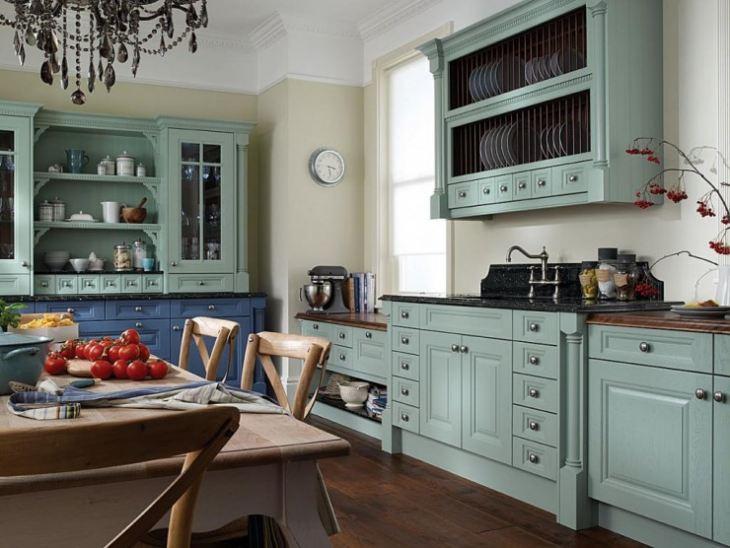 Сине голубая кухня фото