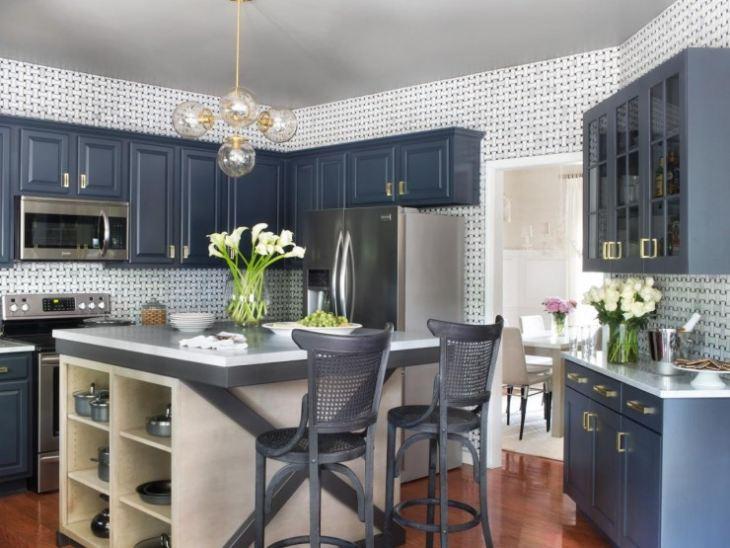 Кухонный гарнитур темно синего цвета фото