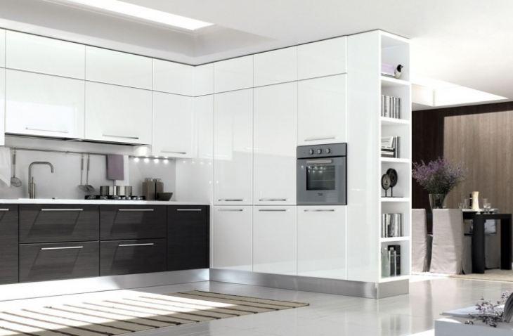 кухня гостиная в стиле хай тек