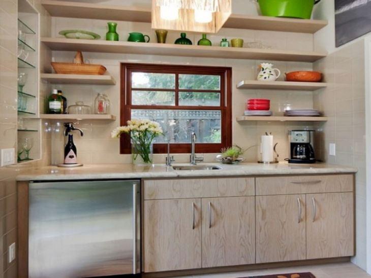 Кухни верхние открытые полки
