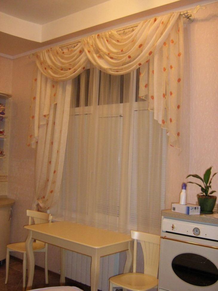 шторы на кухню фото короткие из тюля