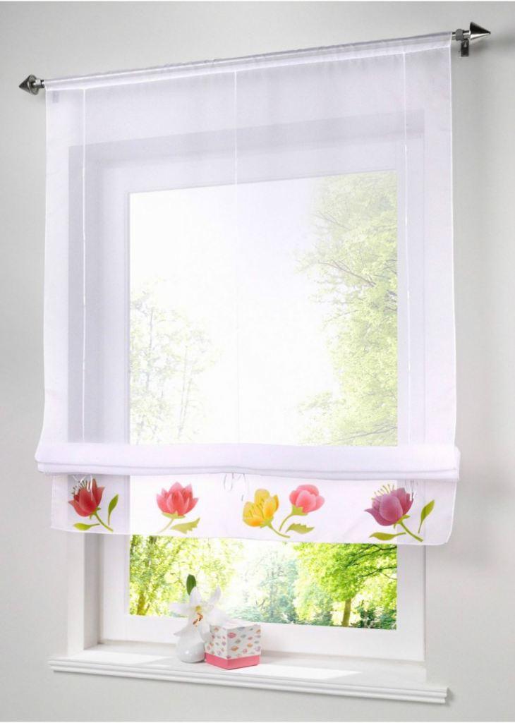 фото штор на кухню до подоконника