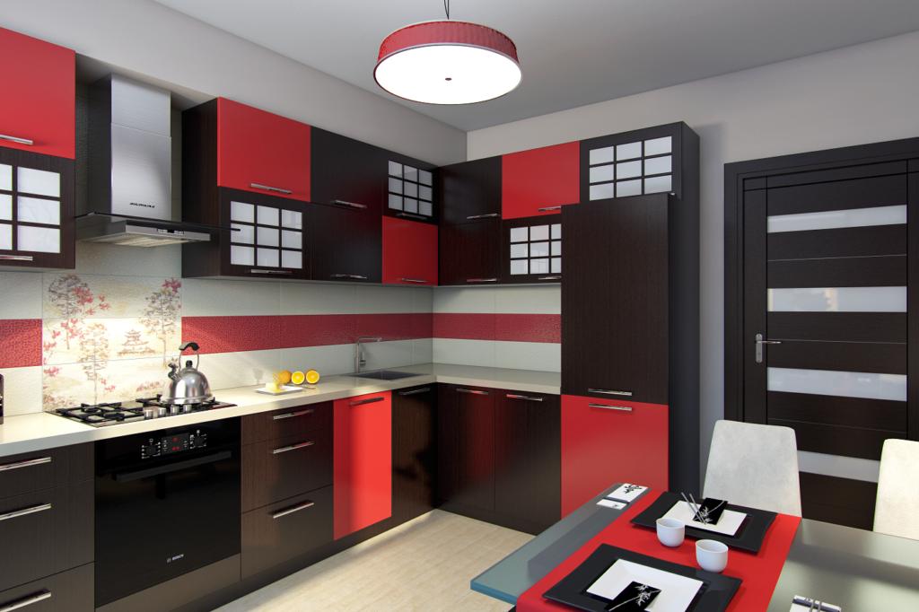 красный кухонный гарнитур