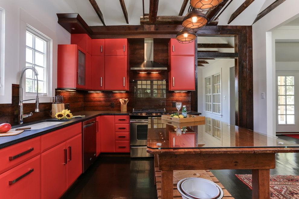 кухня в красном цвете дизайн фото
