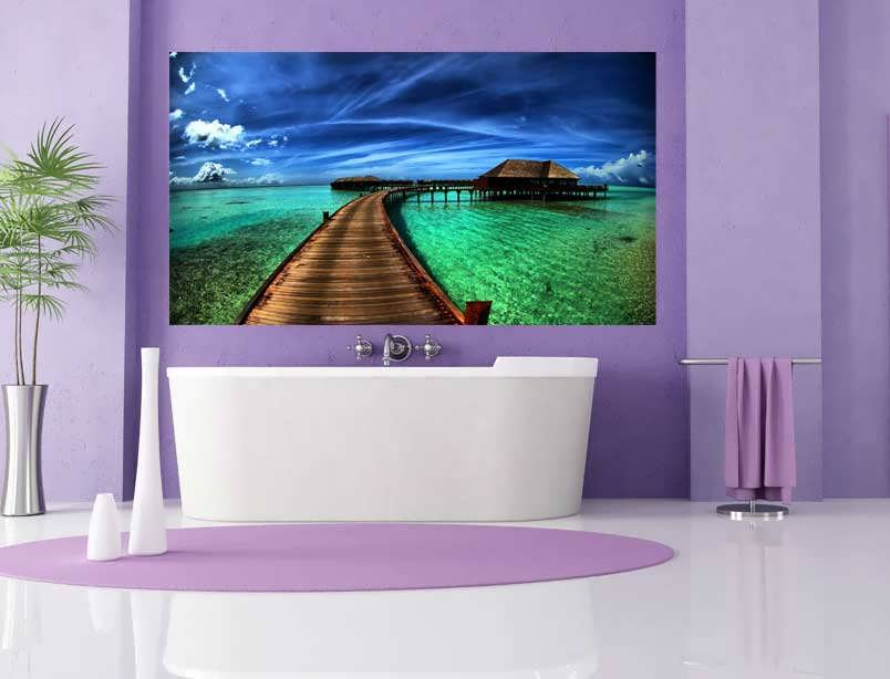 наклейка в ванную на стену