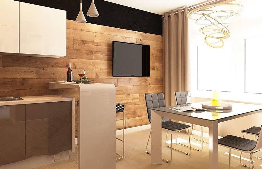 Стены из ламината на кухне фото