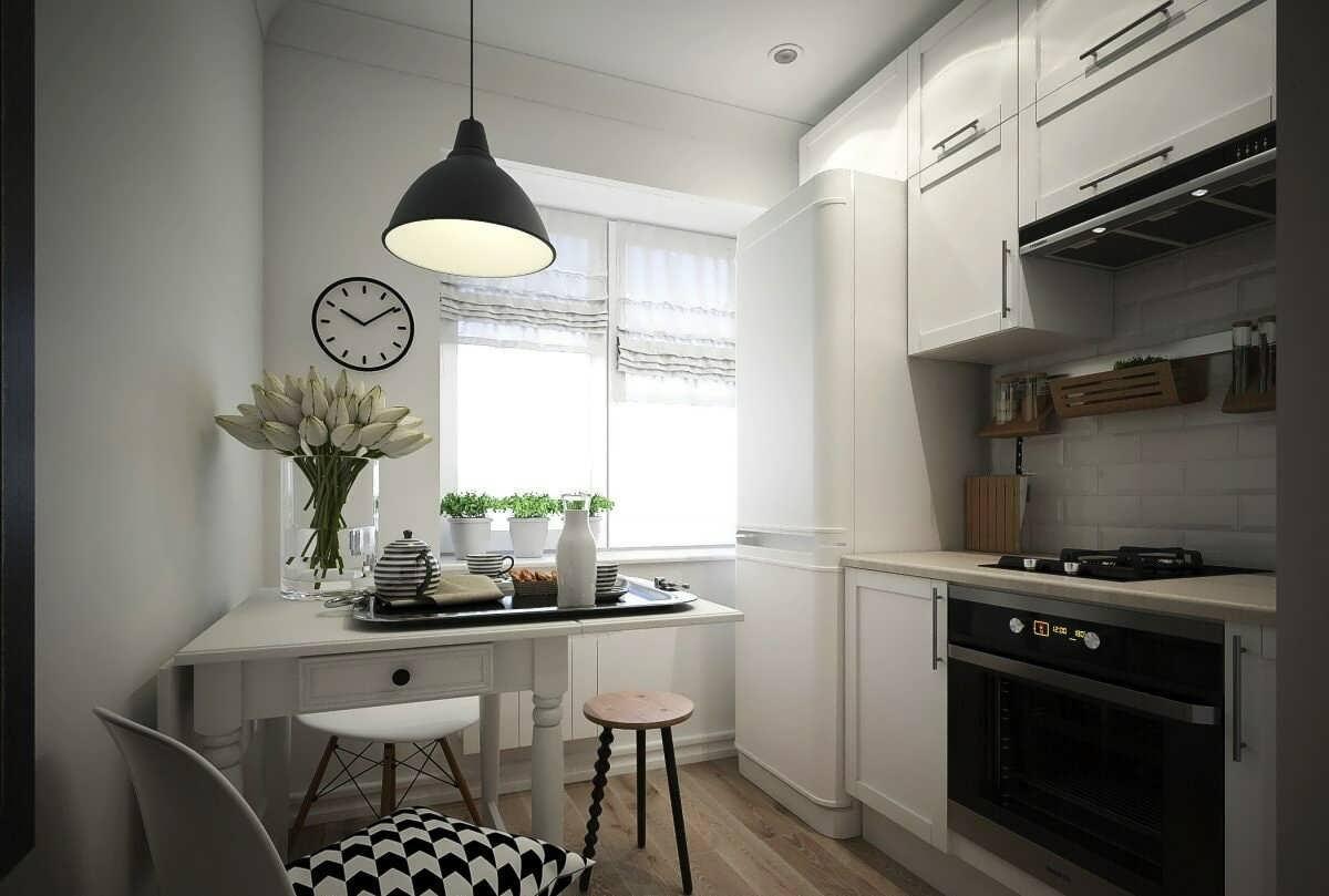 Кухня 5 метров планировка с холодильником