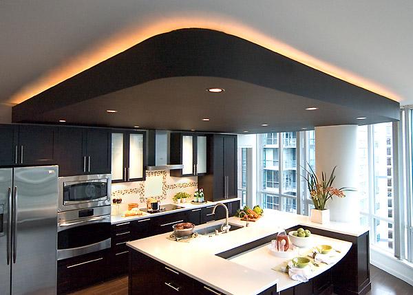 навесные потолки фото для кухни