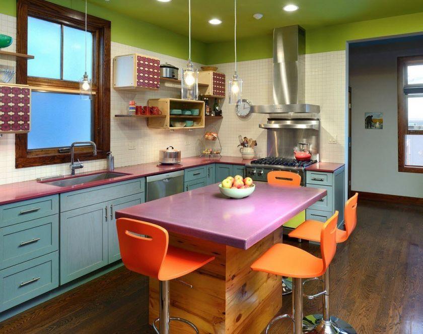 дизайн кухни прямоугольной
