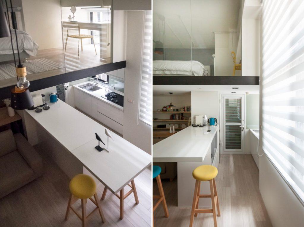 прямоугольная кухня гостиная