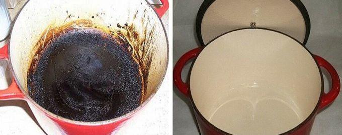 как отчистить пригоревшее дно у кастрюли эмалированной