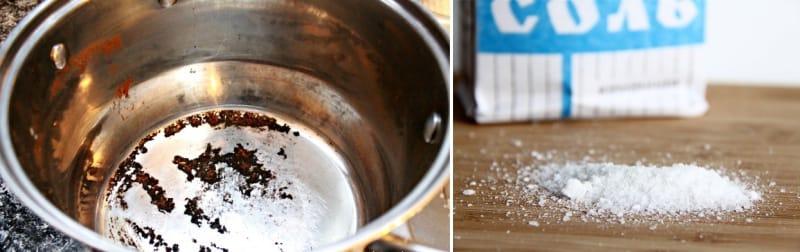 как отмыть подгоревшую кастрюлю