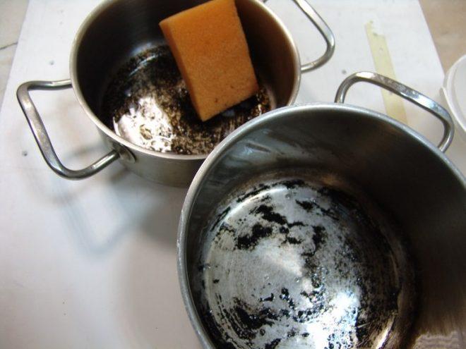 как очистить кастрюлю от пригоревшего