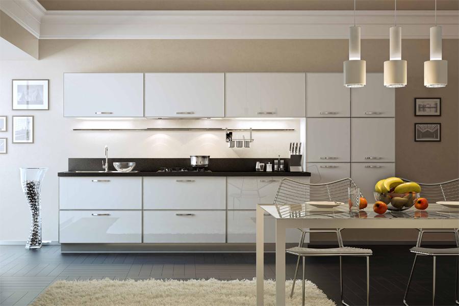 белый алюминиевый профиль для фасадов кухни