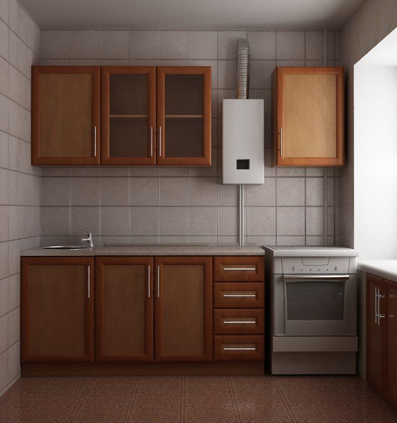 маленькая кухня с газовой колонкой