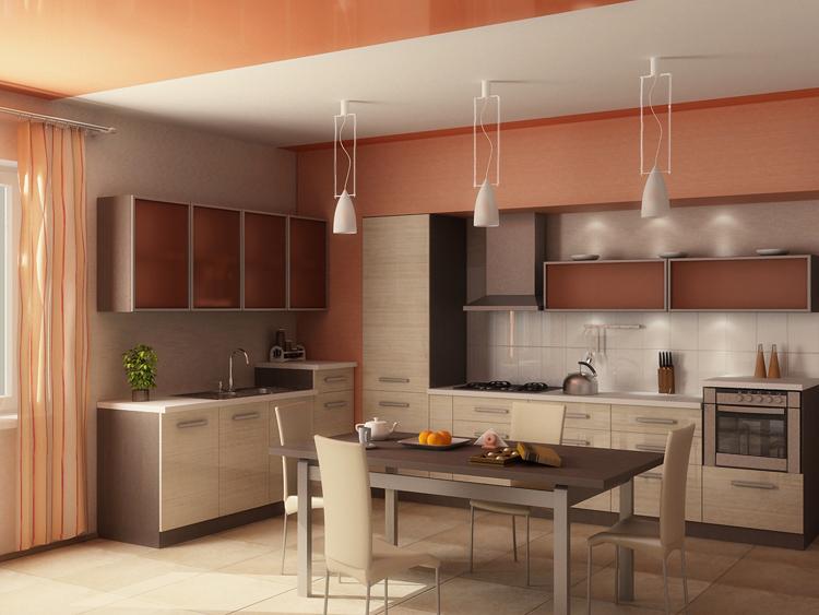 интерьер кухни в персиковых тонах фото