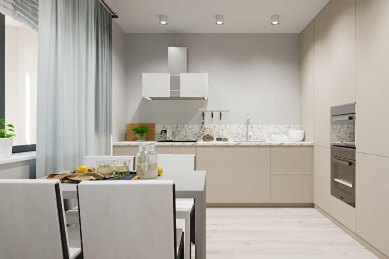 персиковые стены на кухне фото