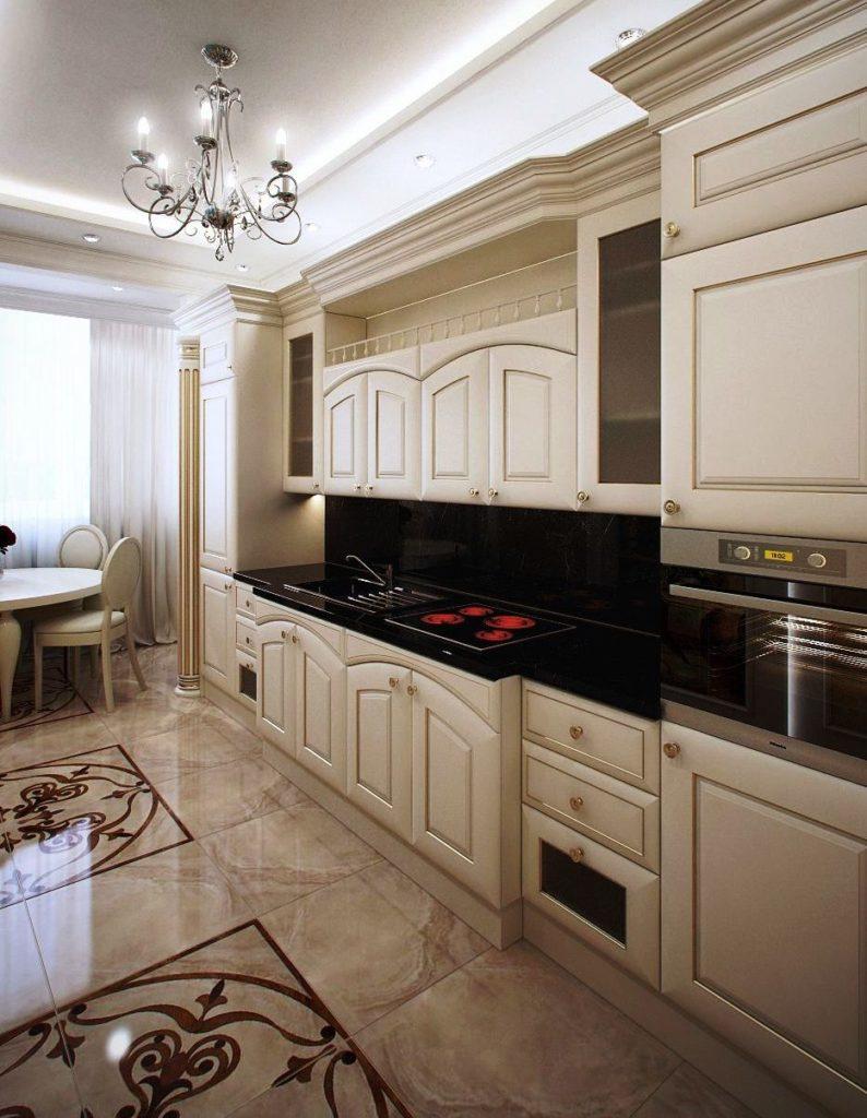 серая кухня с черной столешницей