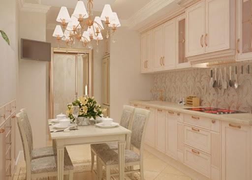 персиковый цвет в интерьере кухни