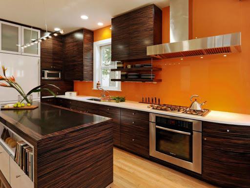 персиковый цвет стен на кухне