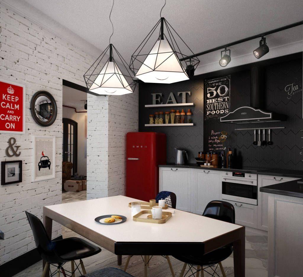 декоративный кирпич в интерьере кухни