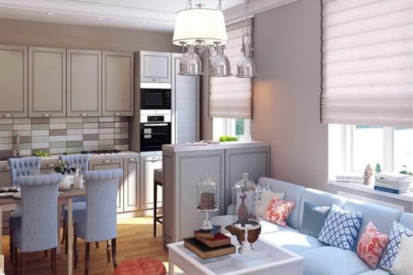 дизайн маленькой кухни гостиной фото с зонированием