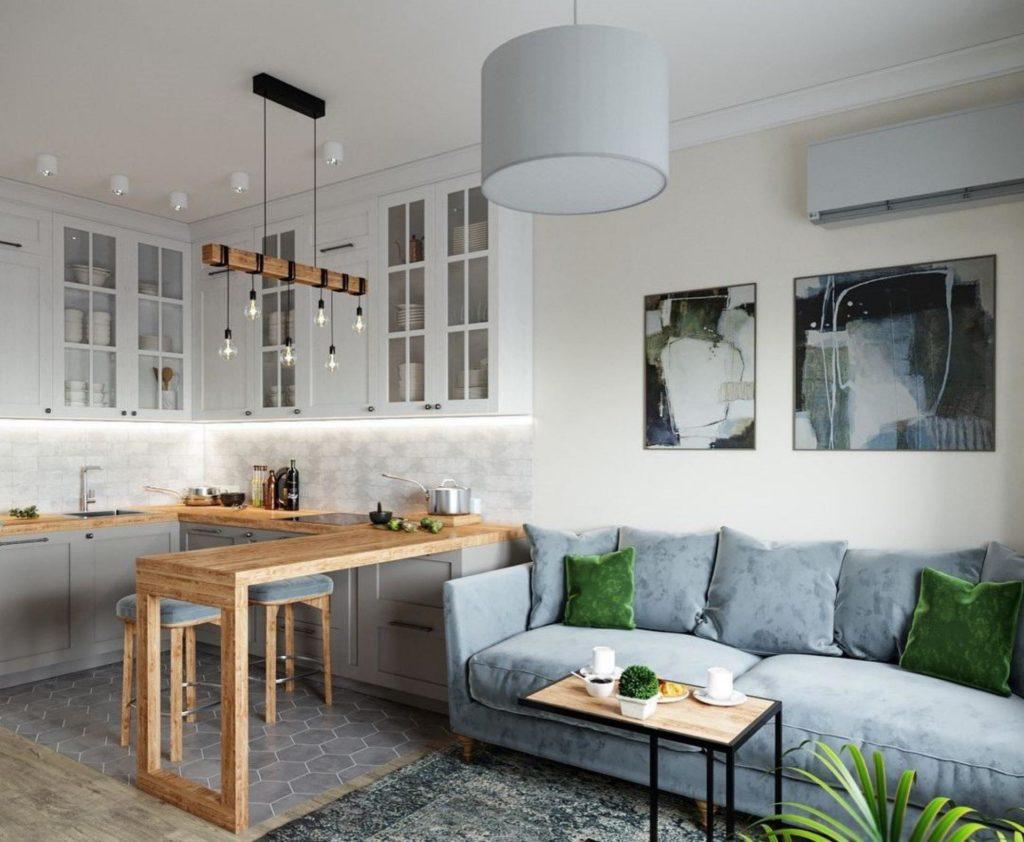 кухня гостиная с перегородкой