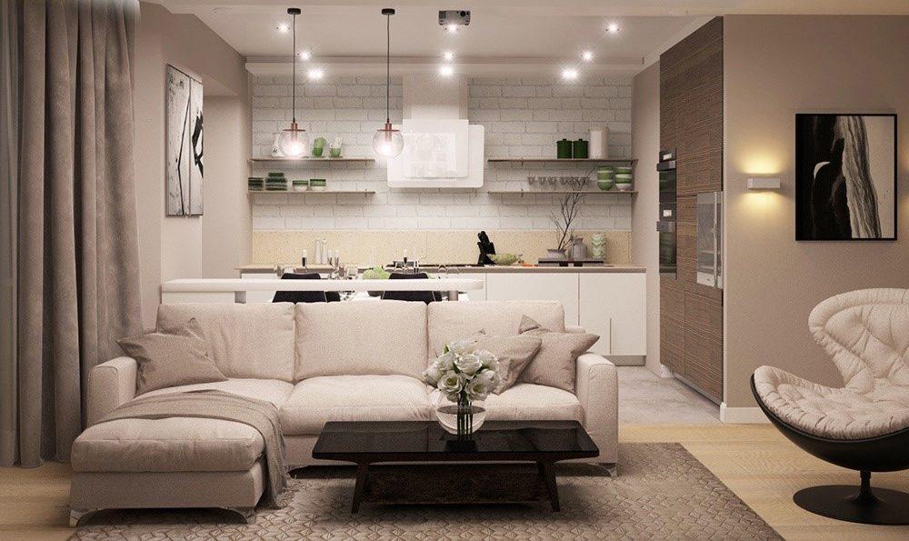 потолок в кухне гостиной