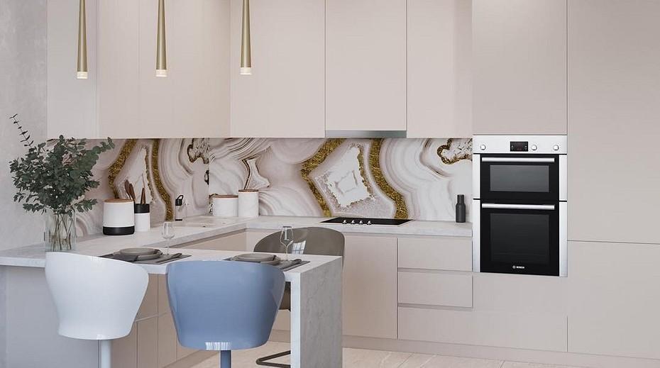 белая плитка для кухни