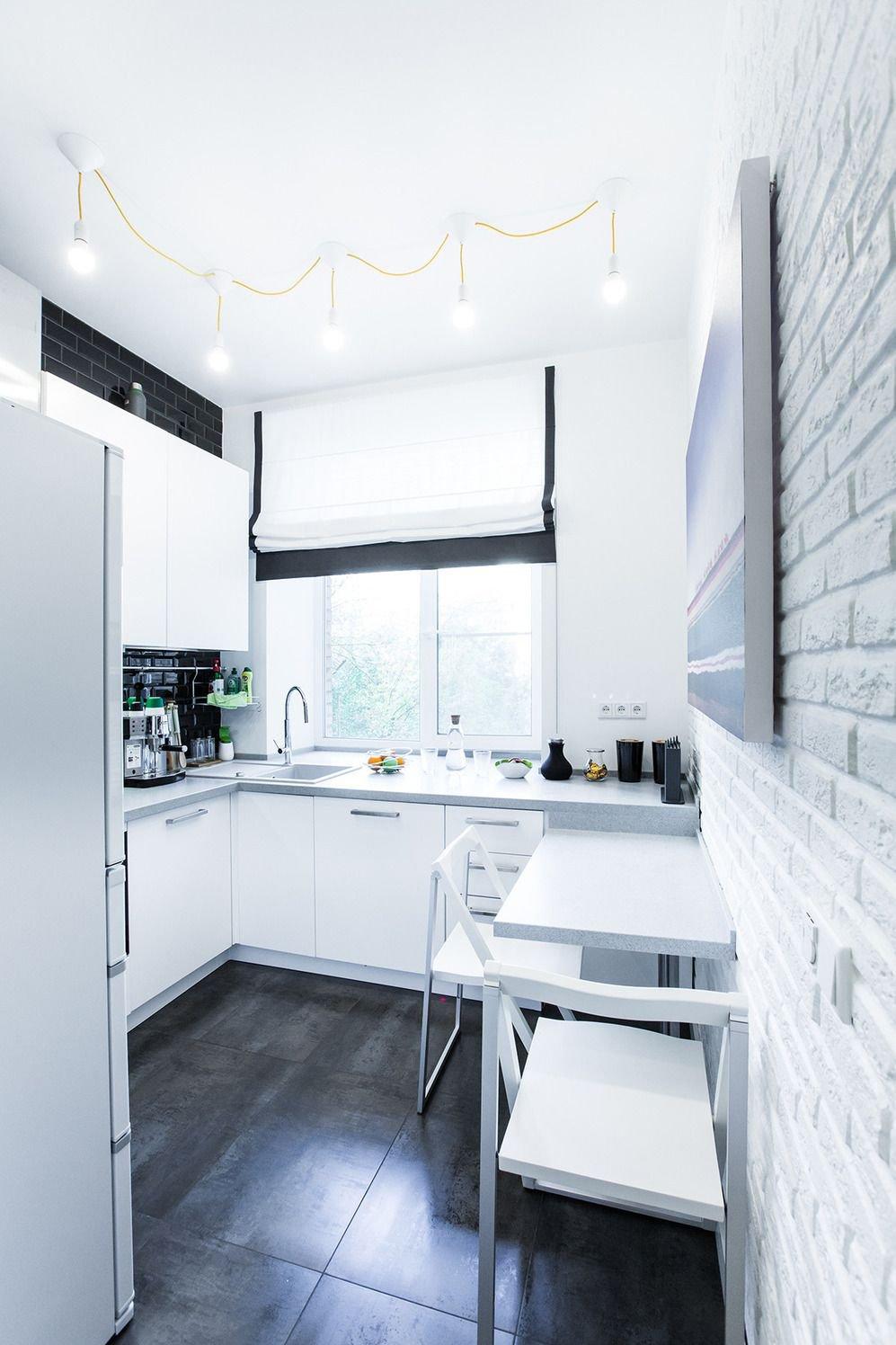 отделка стен под кирпич на кухне