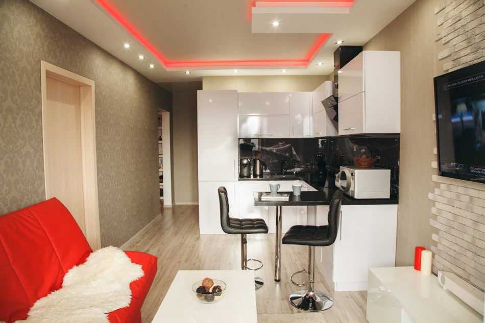 зонирование кухни и гостиной оригинальные решения
